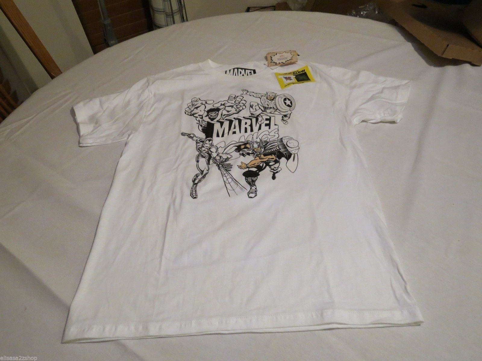 marvel comics UV ink with color glow in dark white Boy's kids youth large L RARE