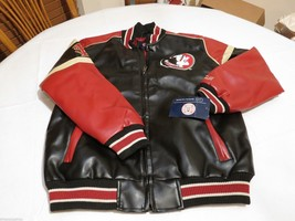 Seminoles pleather jacket coat Florida STATE Gill sports Carl Banks Larg... - $72.59
