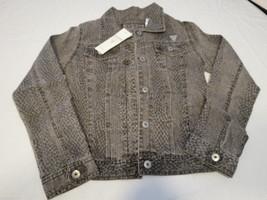 Guess youth girls L 14 ljg61222 denim jean jacket brown black snake prin... - $29.99