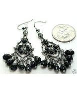 Black Crystal Chandelier CZ Cascade drop earrings EA45 - $12.99