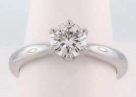 1/2 Ct Moissanite 6 Prong Solstice Engagement Ring 14 Kw - $529.65