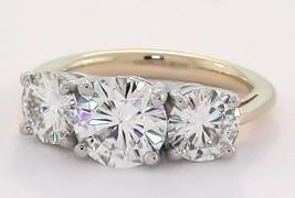 3 Ct Round Brilliant Cut Moissanite 3 Stone Ring 14K TT Gold (1.5Ct & 2x 3/4 Ct) - $1,678.05