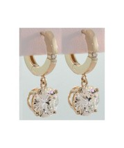 6 Ct Round Moissanite With Accent Hinge Hoop 4 Prong Dangle Earrings - $2,227.50