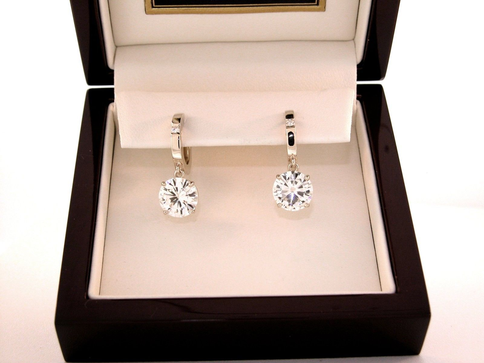6 Ct Round Moissanite With Accent Hinge Hoop 4 Prong Dangle Earrings