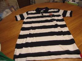 Boy's youth Tommy Hilfiger Polo shirt stripe M 12/14 trim fit navy logo  T881072 - $29.89