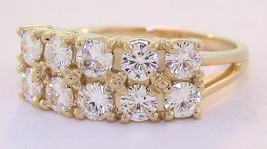 1.6 Ct Round Forever Brilliant® Moissanite 10 Stone Ring 14K Solid Yellow Gold - $1,262.25