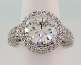 6.6 Ct Round Brilliant Moissanite & Pave Diamond Engagement Ring - Platinum - $8,662.50