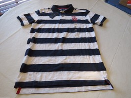 Boy's youth Tommy Hilfiger Polo shirt stripe XL 20 405 navy logo TH T881... - $21.59