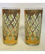 Vintage Culver Hi Ball Glasses Set of 2 22K Gold with Green/Blue Design ... - $31.18