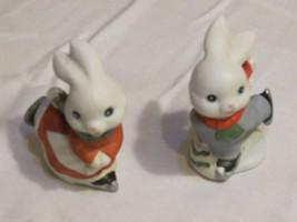 Homco skating bunnies 5305 ice winter Christmas Holiday figures - $9.59
