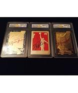 MICHAEL JORDAN AUTOGRAPHED GEMMT 10 1997 FLEER 1986 ROOKIE 23KT GOLD 3 C... - $59.99