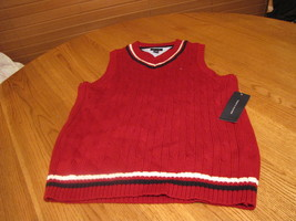 Boys youth Sweater vest pull over V neck sleeveless Tommy Hilfiger 5 red... - €23,74 EUR