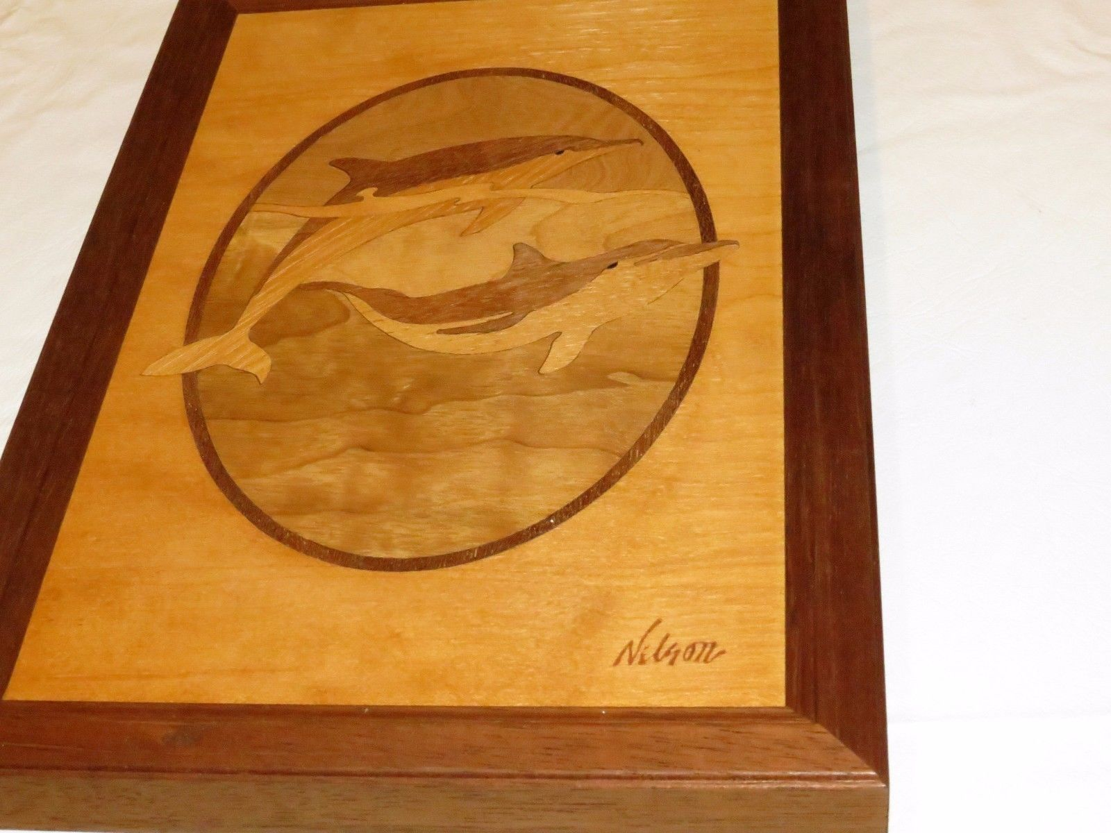 Dolphin Wood Inlays : Rare wood hudson river inlay hardwood nelson dolphins