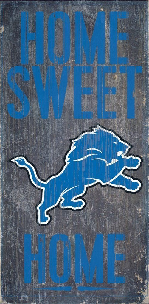 "DETROIT LIONS HOME SWEET HOME WOOD SIGN and ROPE 12"" X 6""  NFL MAN CAVE!"