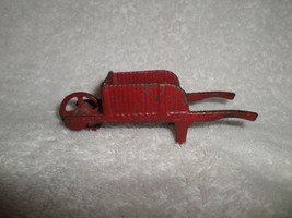 Vintage Cast Iron Toy RED WHEELBARROW #10 Ribbe... - $29.70