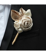 Handmade groom corsages , champagne rose, men corsages,  Best Man Bouton... - $15.00