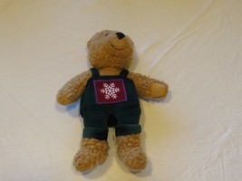 RARE Hallmark cards Christmas snowflake bear stuffed mascot overalls Hol... - $17.99