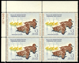 RW27, Duck Plate Block of Four - Mint VF NH Cat $425.00 - Stuart Katz - $249.00