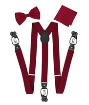 Berlioni Italy Formal Tuxedo Bow Tie Convertible Suspenders Hanky Gift Box Set image 3