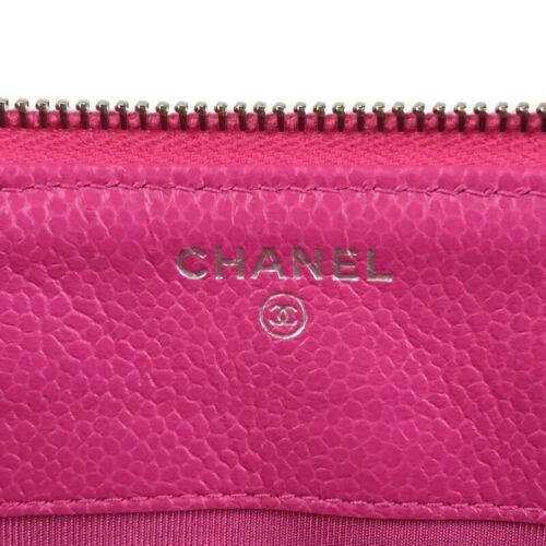Auth CHANEL Matelasse Clutch Bag Pink Caviarskin Zipper Logo Multi Pocket B5021
