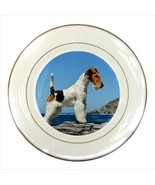 Wire Fox Terrier Porcelain Plate w/ Display Stand - Dog - $22.30
