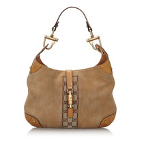 Pre-Loved Gucci Brown Light Suede Leather GG New Jackie Shoulder Bag Italy - $419.82
