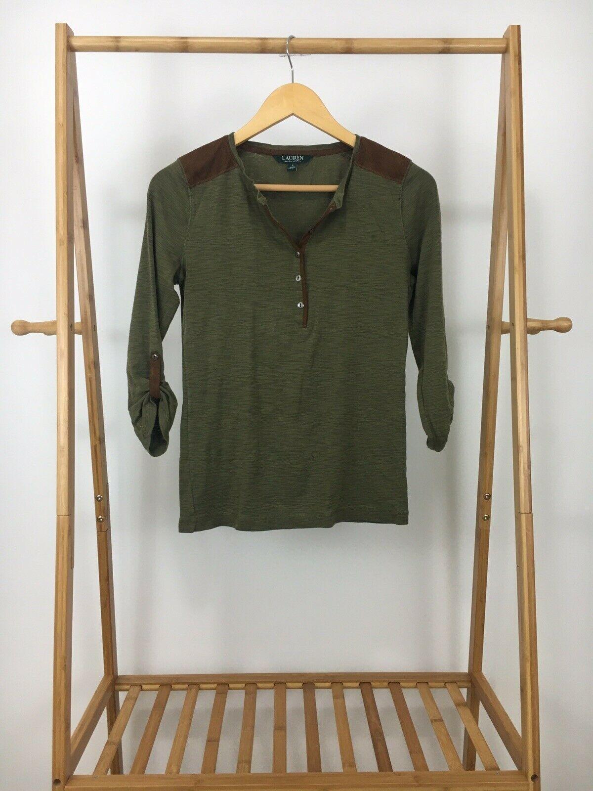 Lauren Ralph Lauren Women's Suede Trim Henley Top Shirt Size S