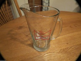 Budweiser pitcher RARE glass bowtie design king of beers beer heavy bar red - $23.99