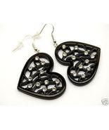 Clear Crystal Black Filigree Heart Dangle Earrings EA06 - $4.99