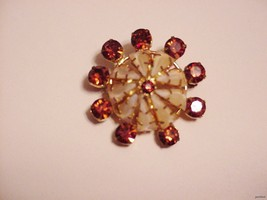 Vintage Pin Brooch Dome w/ Rhinestone Jewels Signed Austria - $12.50
