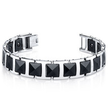 Mens Faceted Black Ceramic and Stainless Steel Link Bracelet - $99.99