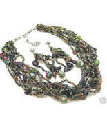 Colorful Multi Strand Glass Bead Necklace Earrings SET NP133 - $10.99