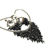 Black Tubular Beads Cascade Drop Necklace Earrings set NP90 - $10.99