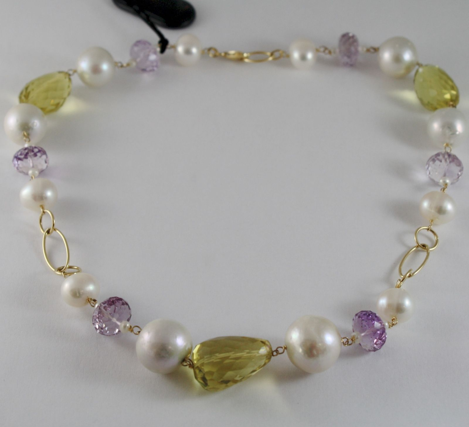 18K YELLOW GOLD NECKLACE BIG PEARLS CUSHION LEMON QUARTZ AMETHYST MADE IN ITALY