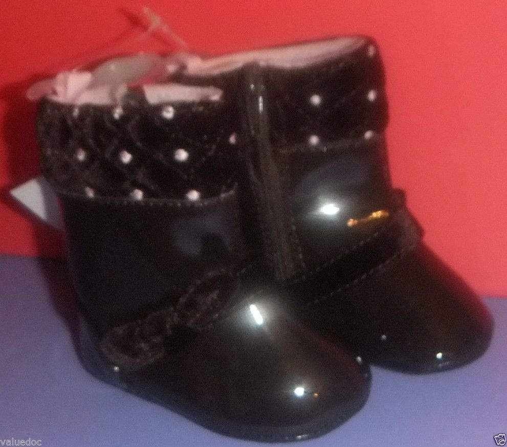 NWT BABY DEER Patent Lethear Infant Toddler Girl Boots Shoes Size 1 0-12 Months