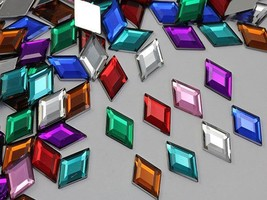 18x11mm Assorted Colors Flat Back Acrylic Diamond Gems  - 125 Pieces - $15.69