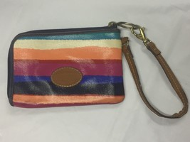 FOSSIL Key-Per Wristlet Coated Canvas Multi-Color Stripe - $12.82