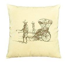 Vietsbay Chinese Ancient Rickshaw Printed Pillows Cover Cushion Case VPLC - €11,01 EUR