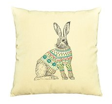 Vietsbay Rabbit in Sweater Printed Decorative Pillows Cover Cushion Case... - €11,01 EUR