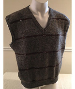 Trissie Sweater Vest Styled by Stefano Red Brown V-Neck Men's XL Made in... - $49.99