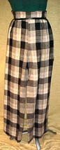 "PLAID WOOL TROUSERS,BLACK & BEIGE PLAID,25"" WAIST;WIDE LEGS;42""LENGTH;'7... - $19.99"