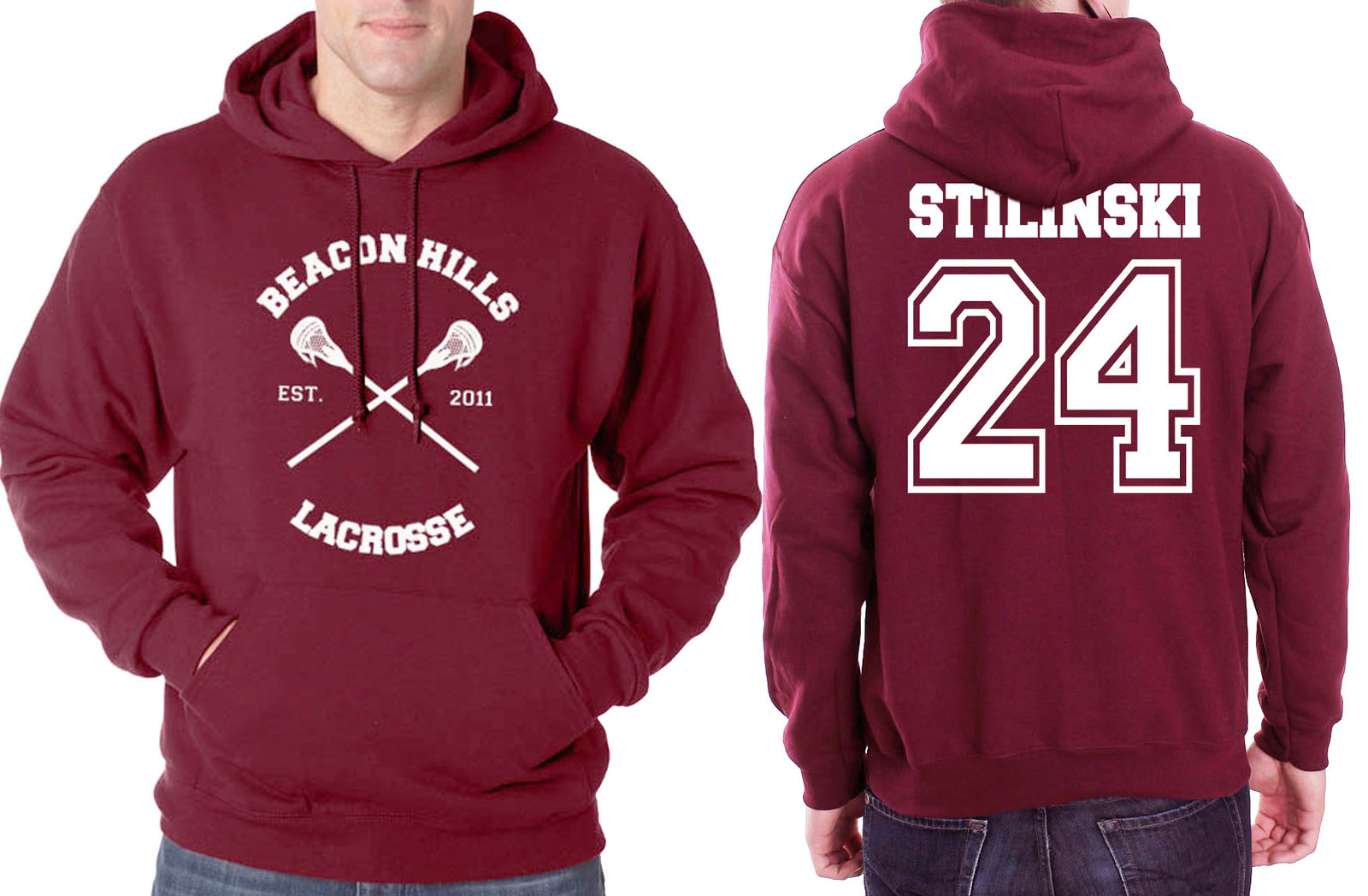 Primary image for Stilinski 24 Teen Stiles stilinski CROSS Beacon Hills Lacrosse Maroon hoodie