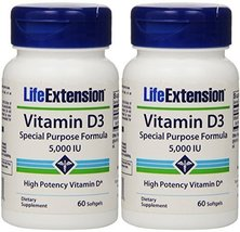 Vitamin D3 5000 Iu Life Extension 60 Softgel X 2 - $10.28