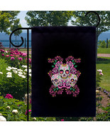 Sugar Skulls Pink Roses New Small Garden Flag Events Gifts Day of the Dead - $12.99