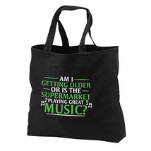 Supermarket Plays Great Music New Black Tote Bag Gifts Humor - $17.99