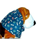Navy Houndstooth Paw Print Bones Cotton Dog Snood by Howlin Hounds Puppy... - $10.50
