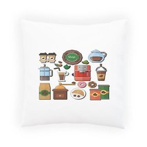 Coffee Shop Elements Funny Novelty Pillow Cushion Cover b482p - $232,34 MXN+