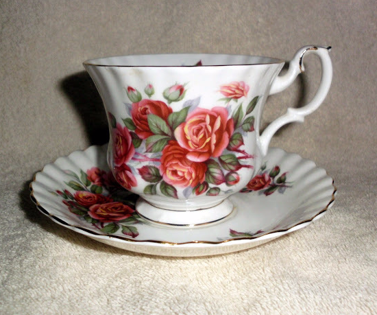 Royal Albert Centennial Rose Teacup and Saucer White with Peach Pink Roses