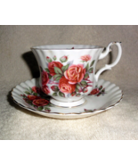 Royal Albert Centennial Rose Teacup and Saucer White with Peach Pink Roses - $35.00