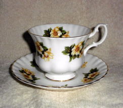 Royal Albert Teacup and Saucer Yellow Rose Pattern Small Bud Roses Bone ... - $35.00